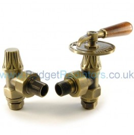 Abbey Lever Radiator Valve Set - Old English Brass