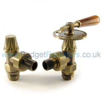 Abbey Lever Radiator Valve Set - Old English Brass