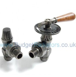 Abbey Lever Radiator Valve Set - Pewter