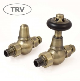 Admiral Traditional-Straight Thermostatic Valve Set - Antique Brass