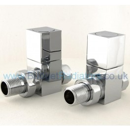 Cubex Square Straight Manual Valve - Chrome