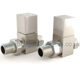 Cubex Square Straight Manual Valve - Satin Nickel