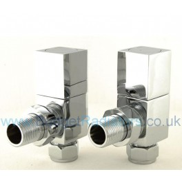 Cubex Square Angled Manual Valve - Chrome