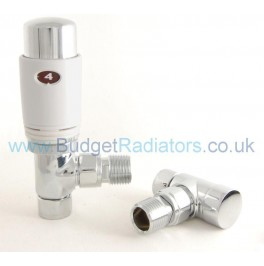 Elegance Angled Thermostatic Valve Set - White & Chrome