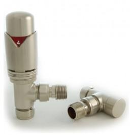 Grosvenor Angled Thermostatic Valve Set - Brushed Nickel