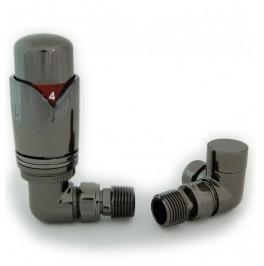 Grosvenor Corner Thermostatic Valve Set - Black Nickel