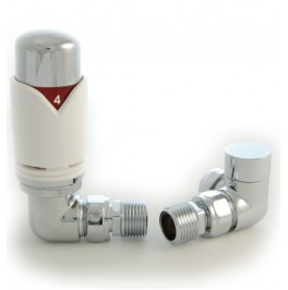 Grosvenor Corner Thermostatic Valve Set - White & Chrome