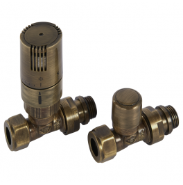 Kingston Straight TRV Set - Antique Bronze