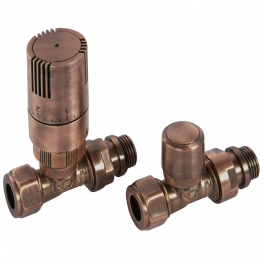 Kingston Straight TRV Set - Antique Copper