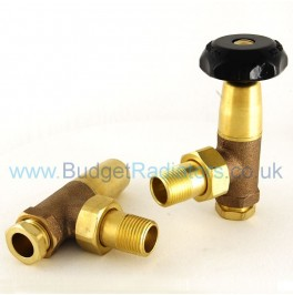 Stirling Angled Manual Valve Set - Lacquered Brass