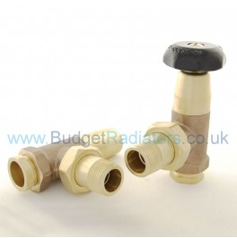 Stirling 3/4in Angled Manual Valve Set - Unlacquered Brass