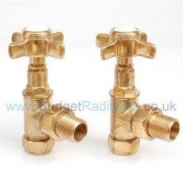 Westminster Angled Radiator Valve Set Un-Lacquered Brass